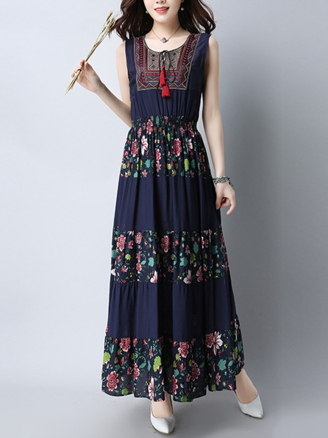 Fashionmia Flowy Elastic Waist Tassel Floral Striped Round Neck Maxi Dress
