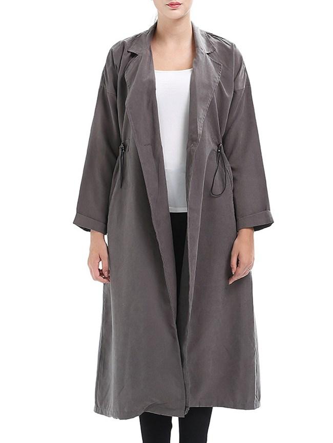 Fashionmia Notch Lapel Drawstring Plain Raglan Sleeve Long Sleeve Trench Coats
