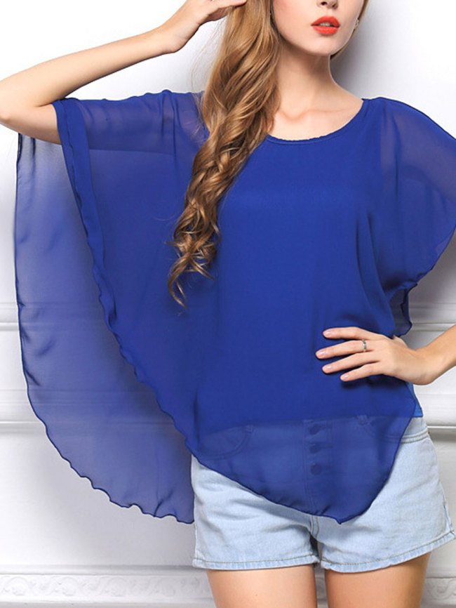 Fashionmia Round Neck Plain Cape Sleeve Blouse