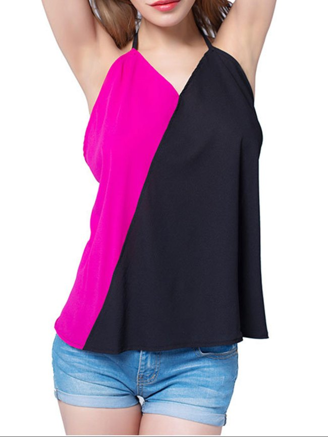 Fashionmia Spring Summer Chiffon Women V-Neck Patchwork Plain Sleeveless Blouses
