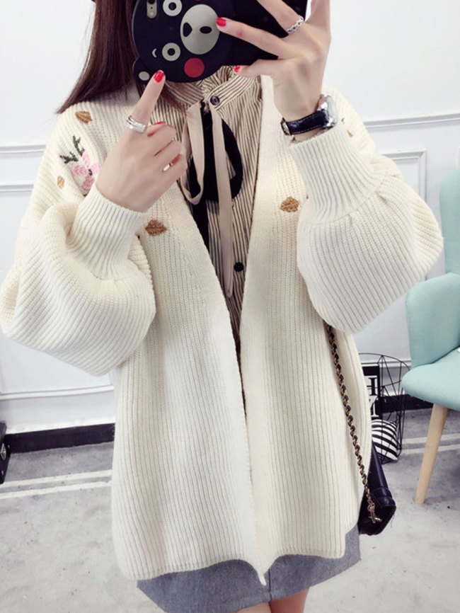 Fashionmia Collarless Embroidery Long Sleeve Cardigans