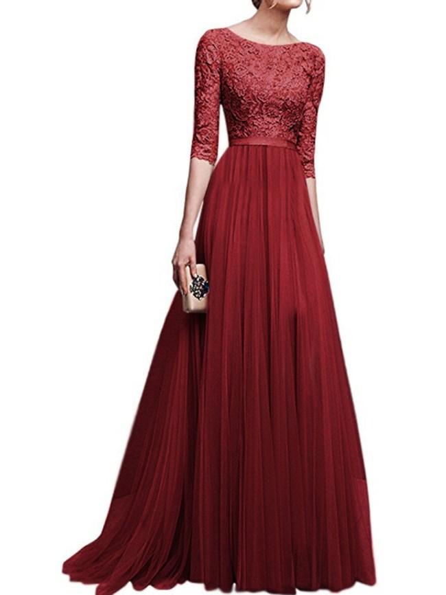 Fashionmia Round Neck Patchwork Plain Evening Dress