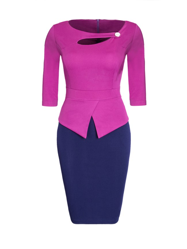 Fashionmia Asymmetric Neck Cutout Color Block Plus Size Bodycon Dress