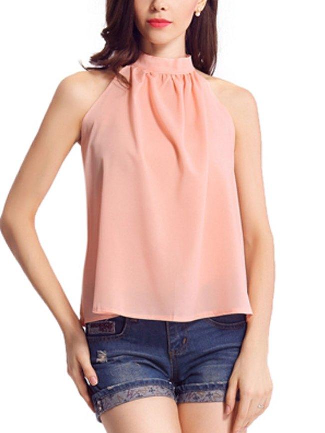 Fashionmia Spring Summer Chiffon Women Halter Asymmetric Hem Plain Sleeveless Blouses