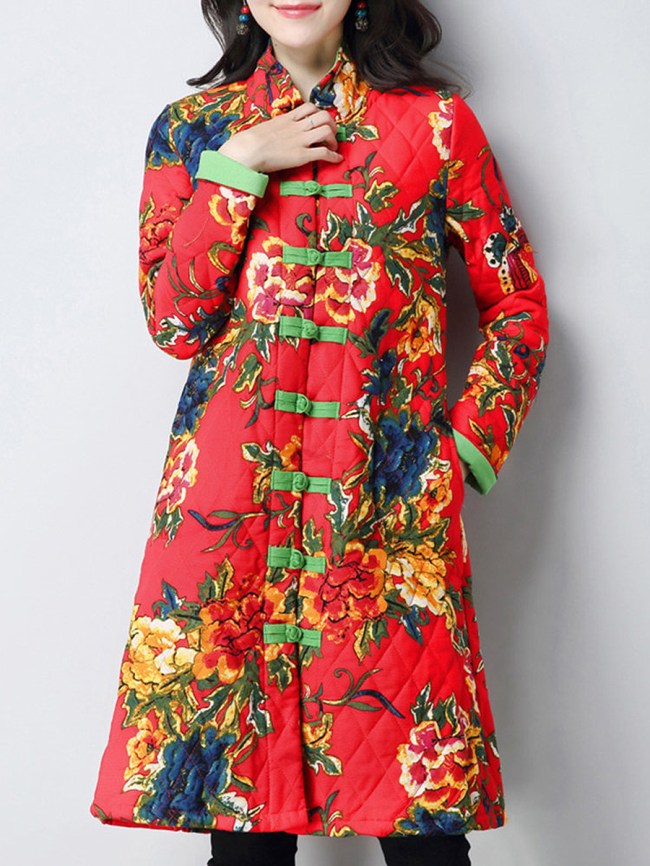 Fashionmia Floral Long Sleeve Coats