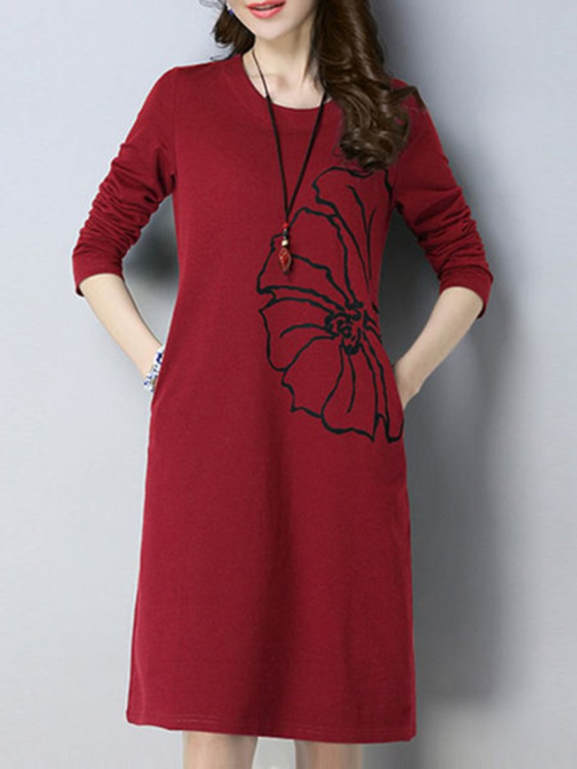 Fashionmia Round Neck Printed Cotton/Linen Shift Dress