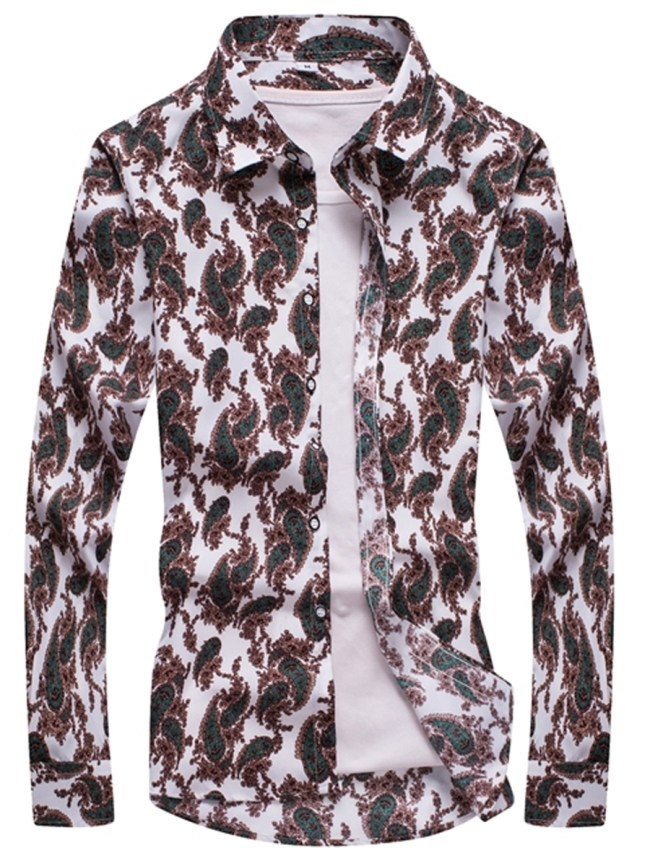 Fashionmia Paisley Floral Printed Men Long Sleeve Shirts
