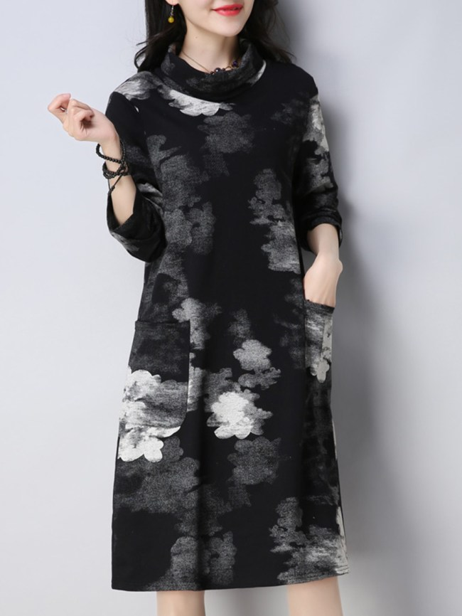 Fashionmia Cowl Neck Printed Cotton/Linen Shift Dress