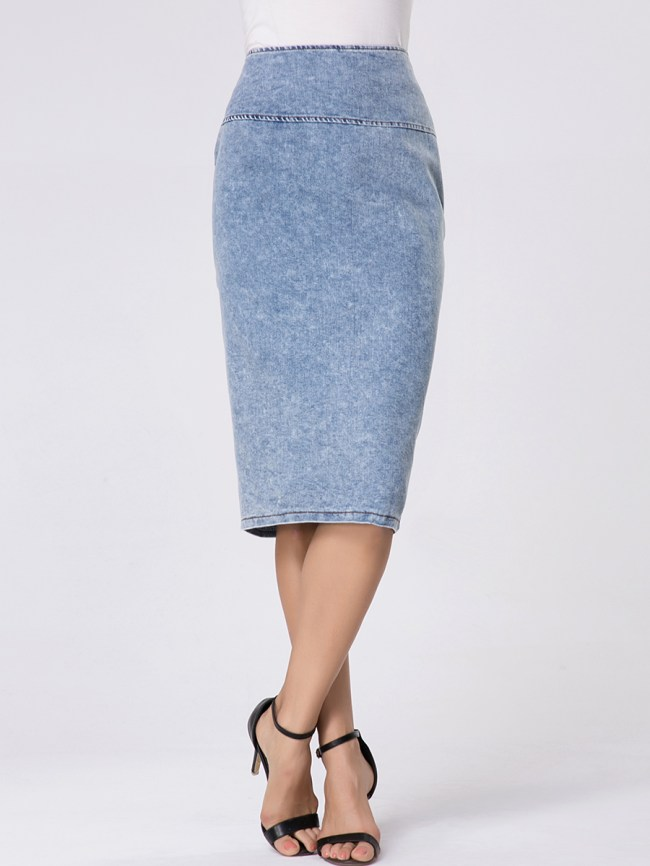 Fashionmia Zips Split Straight High-rise Denim Midi Skirt