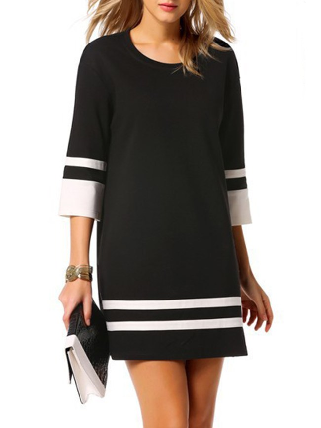 Fashionmia Round Neck Color Block Striped Shift Dress