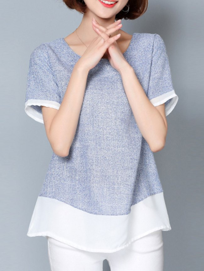 Fashionmia Spring Summer Cotton Women Round Neck Patchwork Plain Short Sleeve T-Shirts