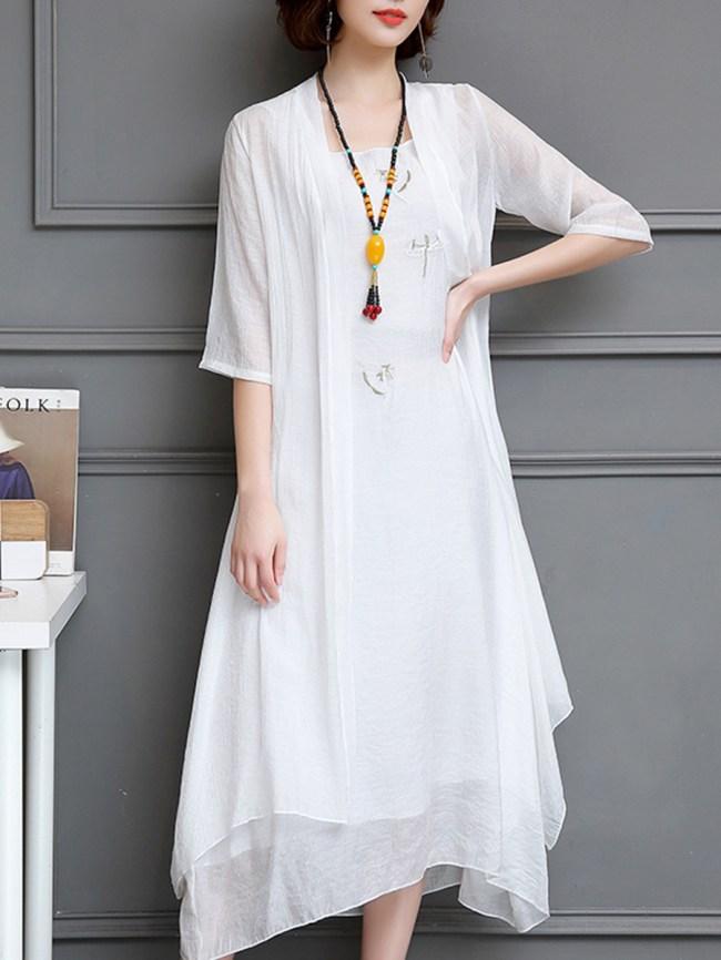 Fashionmia Round Neck Printed Maxi Dress