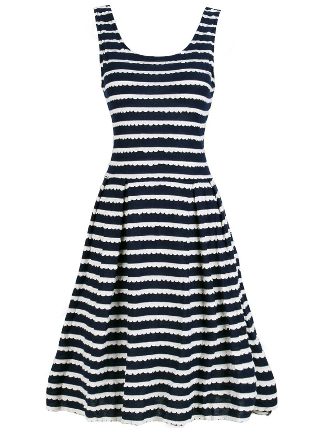 Fashionmia Embossed Striped Round Neck Skater Dress