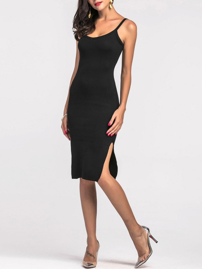 Fashionmia Spaghetti Strap Plain Bodycon Dress