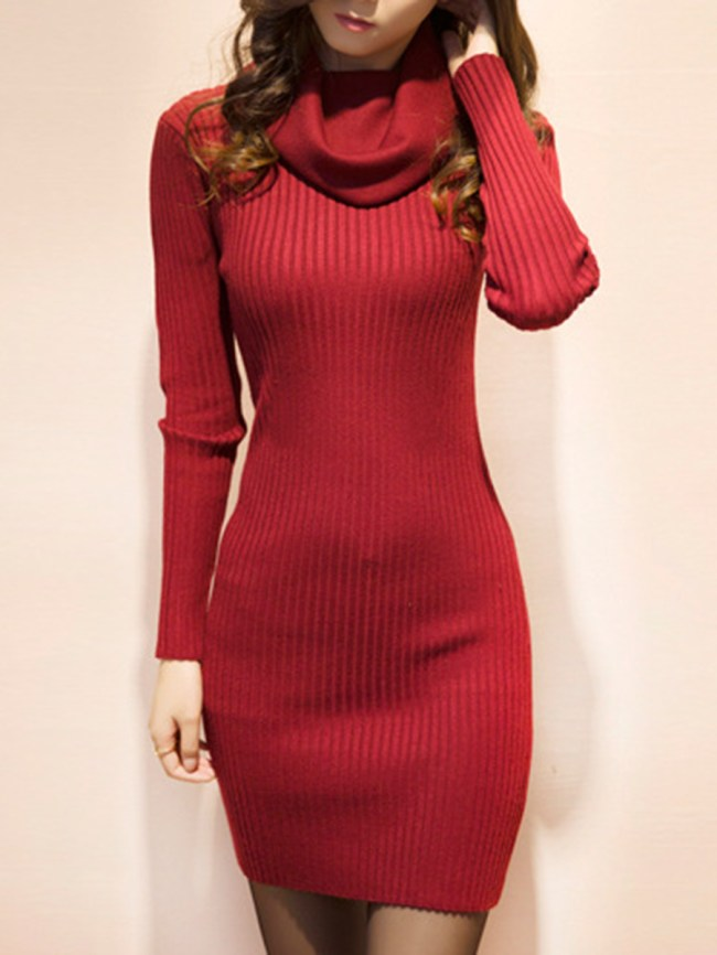 Fashionmia Cowl Neck Solid Knitted High Stretch Bodycon Dress