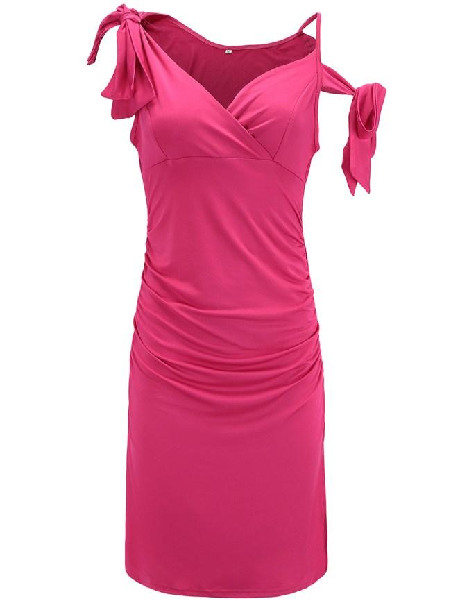 Fashionmia Surplice Plain Bodycon Dress