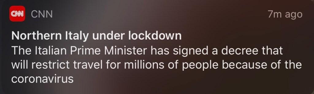 Italy on lockdown