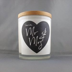 Mr & Mrs chalkboard Writing Candle