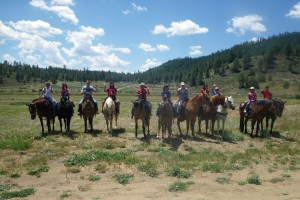 One group of kids that were exstatic to get a chance to ride a horse.