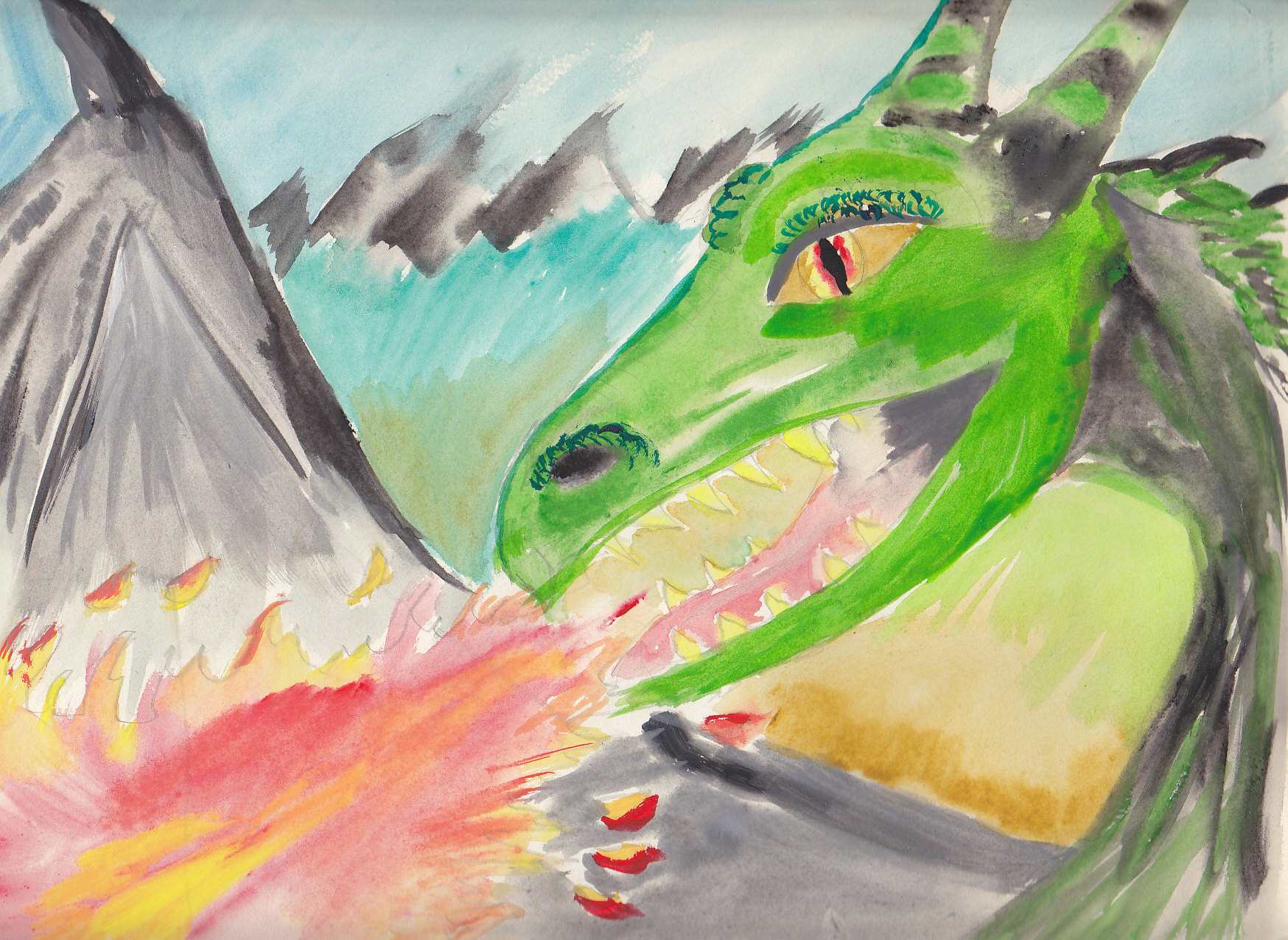Rachel's WaterColour of Dragon before Inking