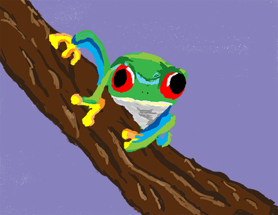 Rough Painting of a tree frog