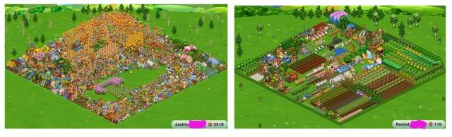 screenshot of 2 cartoon games, facebook