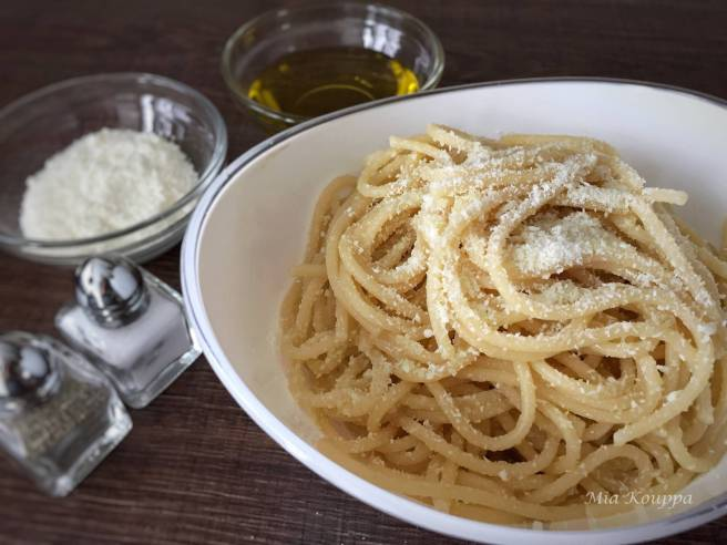 Spaghetti with Olive oil and Greek mizithra (cheese)