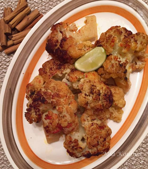 Roasted Cauliflower with spices and tomato sauce