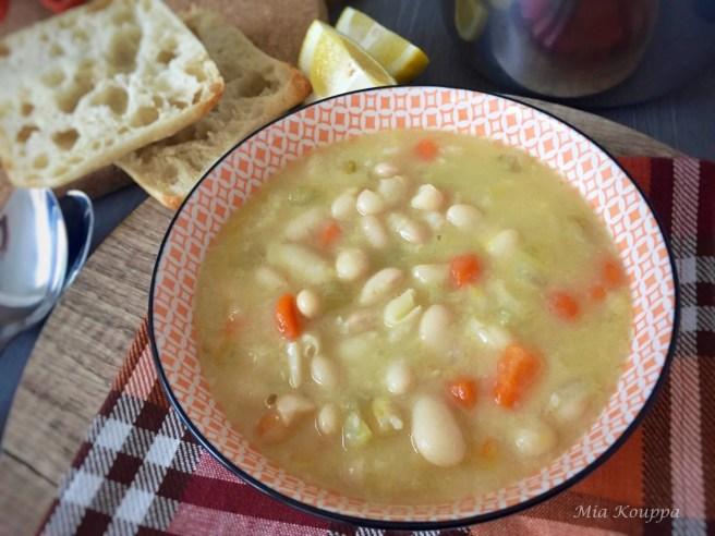 Fasolatha, a bean soup, flavoured with fresh lemon juice