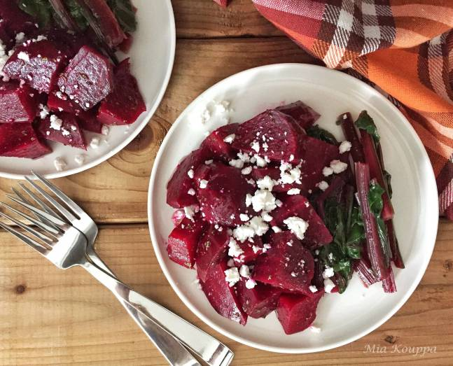 Roasted Beet Salad topped with Feta cheese