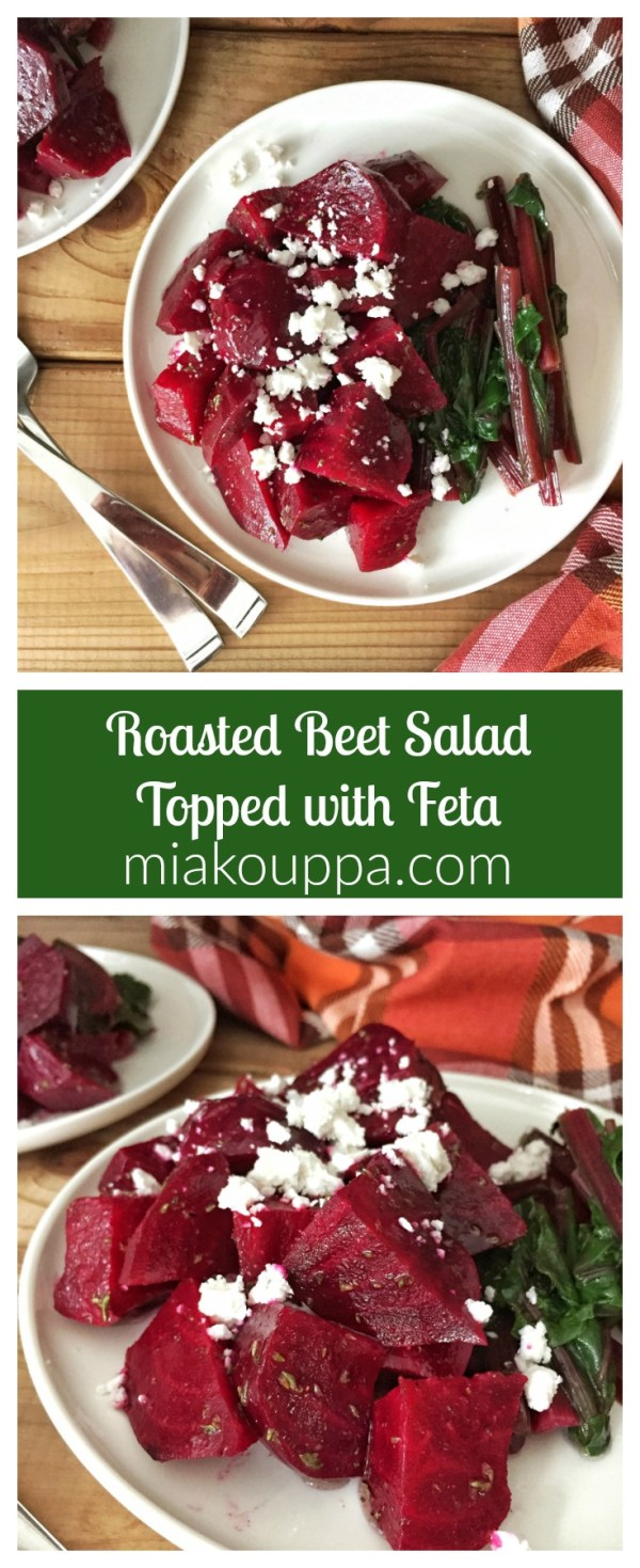 Roasted Beet Salad topped with Feta