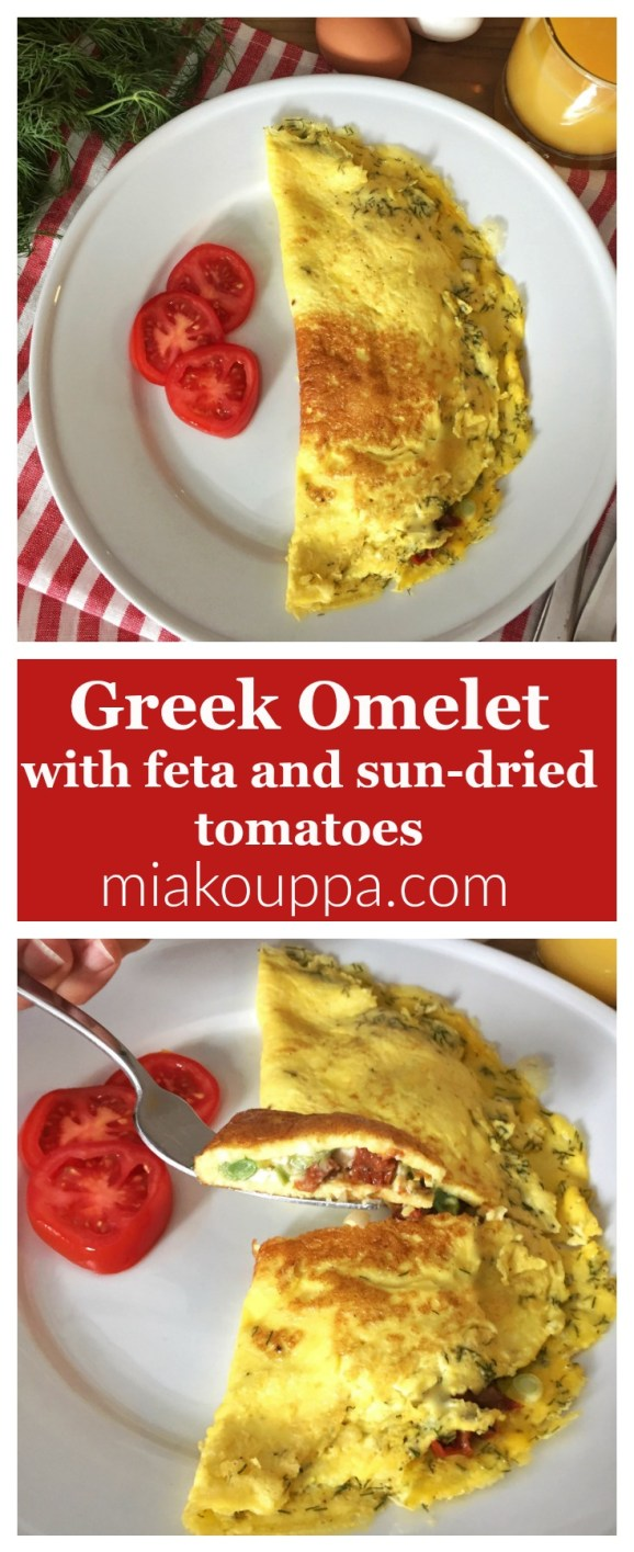 Greek Omelette with feta and sun-dried tomatoes