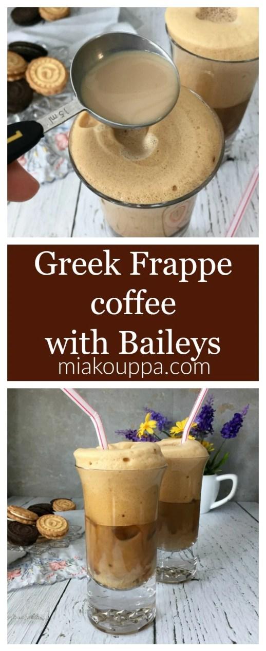 Greek Frappé coffee with Baileys Irish Cream