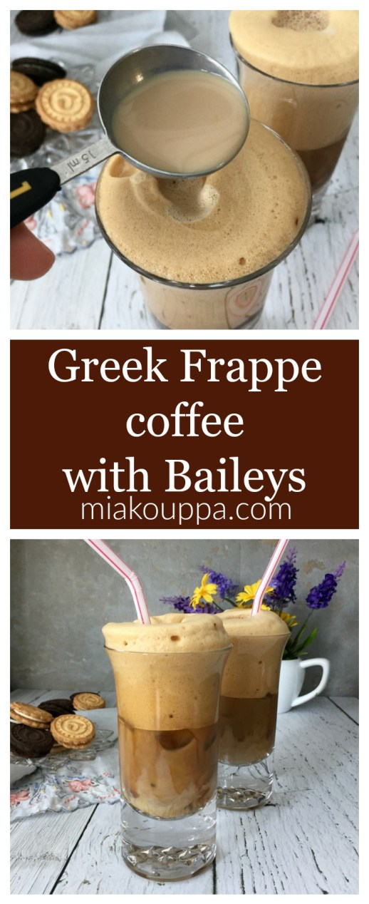 Greek Frappé coffee with Baileys Irish Cream