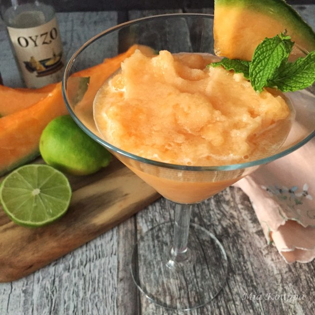 Cantaloupe drink with ouzo