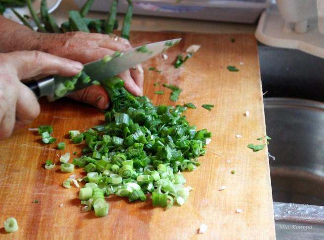 Chopping fresh green onions