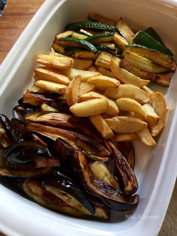Eggplant, zucchini and potato bake