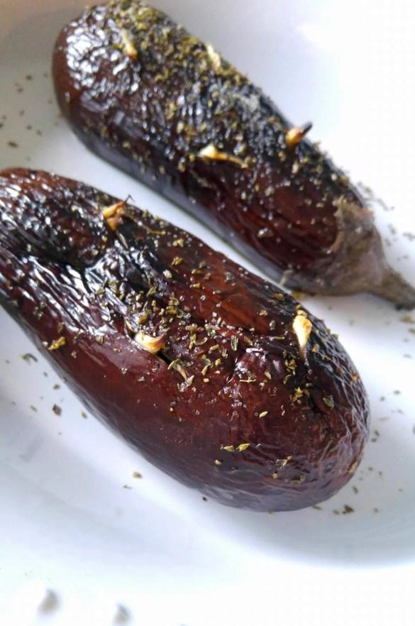 Baked eggplants for Melitzanosalata
