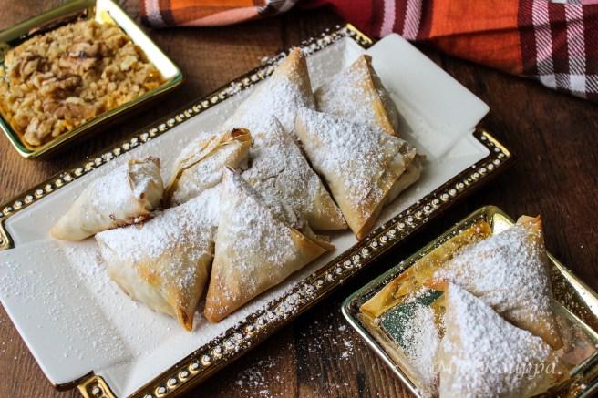 Mini apple pies with phyllo or milopitakia (Μηλοπιτάκια)