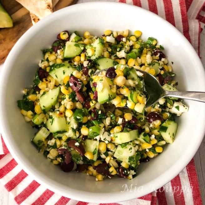 Grilled corn, cucumber and feta salad