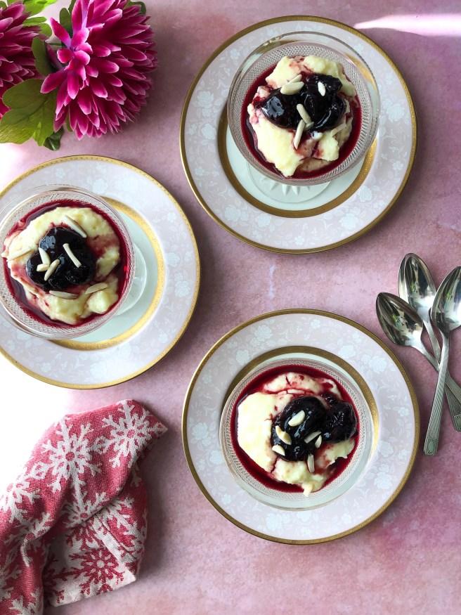 Custard with cherry spoon sweet (Κρέμα με κομπόστα κεράσι)