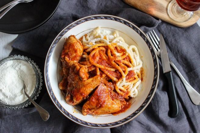 Chicken kokkinisto with pasta