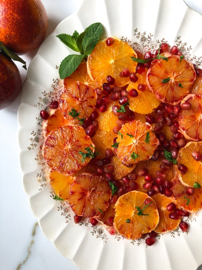 Citrus platter with pomegranate