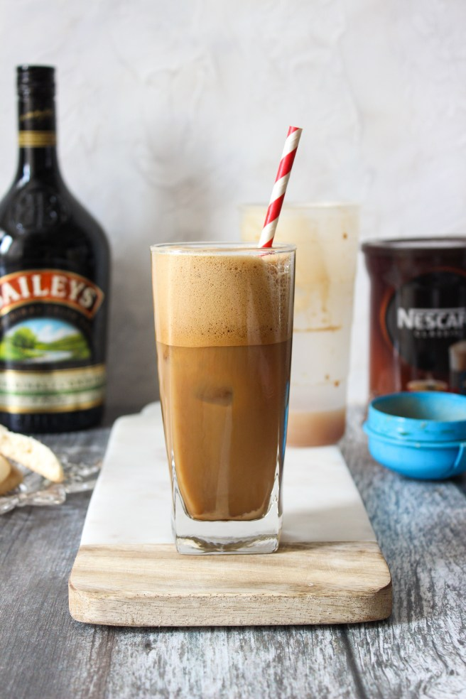 Frappé coffee with Baileys