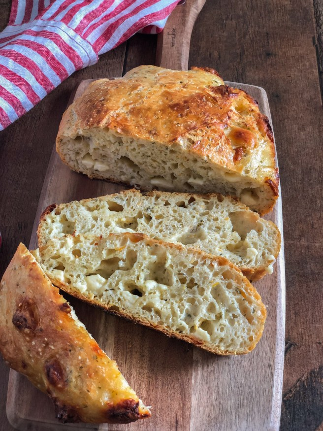 No-knead bread with halloumi, mint and orange