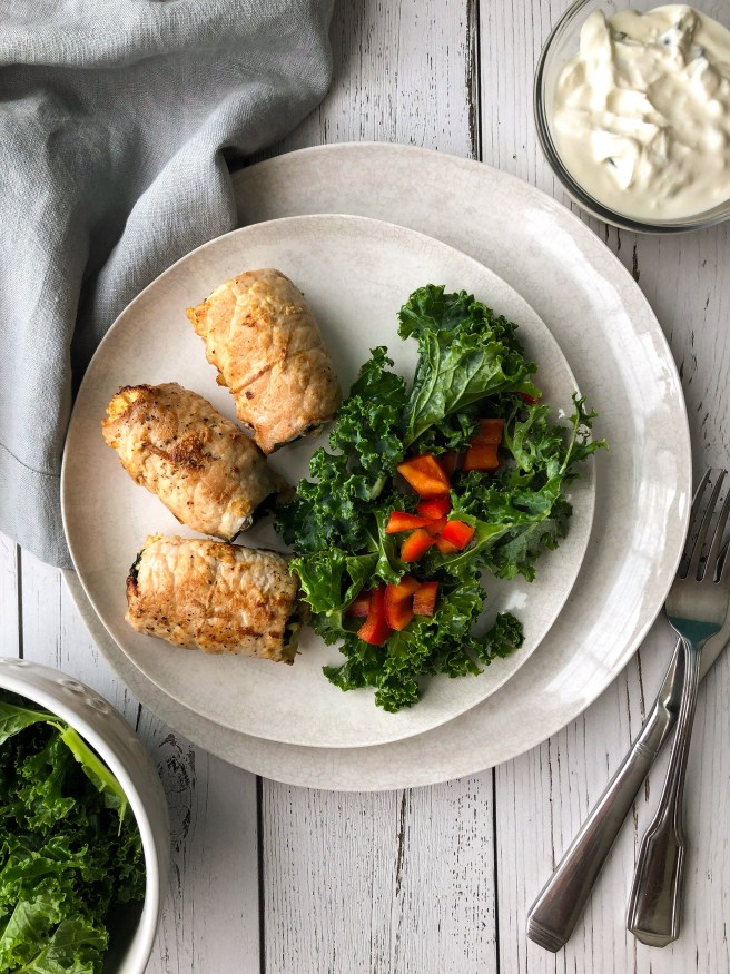 Spinach and feta pork roll-ups