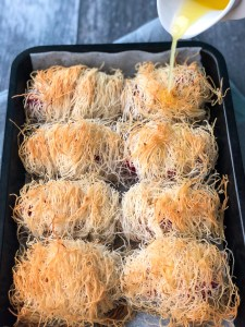 Turkey and cranberry kataifi parcels
