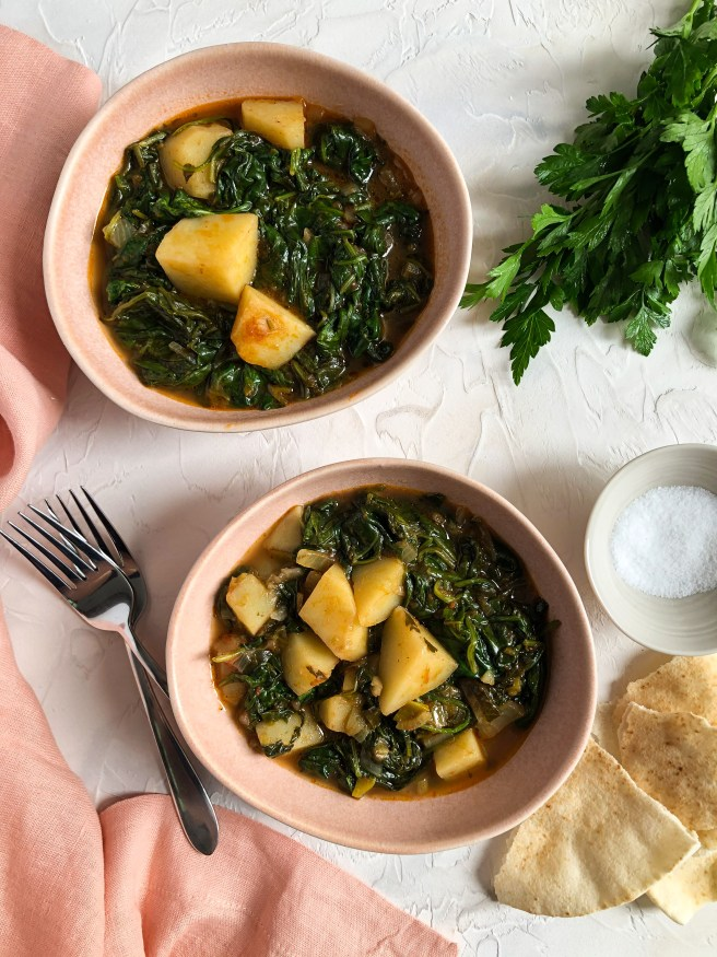 Spinach and potato stew