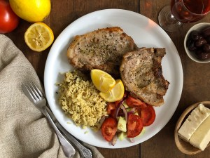 Pan-fried pork chops