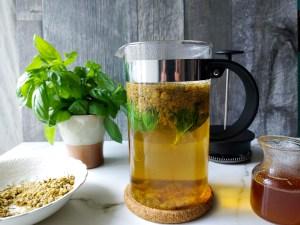 Chamomile and basil iced tea